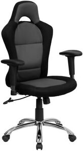 Race Car Inspired Gray And Black Mesh Swivel Task Chair With Bucket Seat And