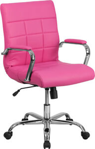 Mid back Pink Vinyl Executive Swivel Chair With Chrome Base And Arms