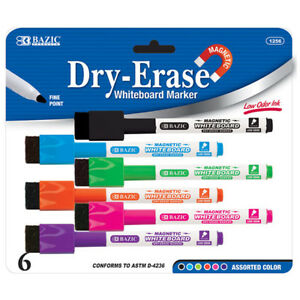 Bazic Bright Color Magnetic Dry erase Markers 6 pack