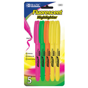 Bazic Pen Style Fluorescent Highlighter W Pocket Clip 5 pack