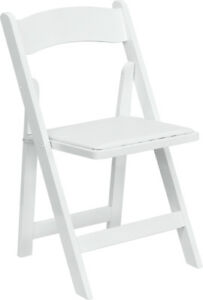 Series White Wood Folding Chair With Vinyl Padded Seat