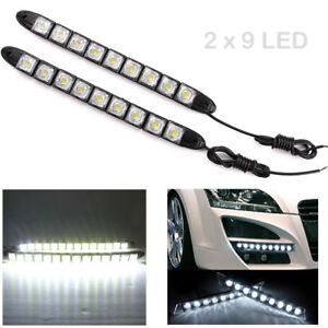 2x 9 Led Car Flexible Drl Daytime Running Light Driving Daylight Fog Light Lamp