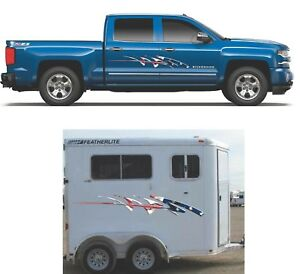 American Flag Stripe Graphics Truck Boat Horse Trailer Stickers Vinyl Decals
