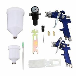 Hvlp Air Gravity Spray Paint Gun Set W 2 Sprayer Paint Nozzle 0 8 Mm 1 4 Mm U