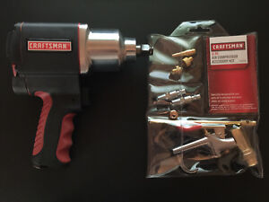 Bundle Craftsman 1 2 Drive Tire Air Impact Wrench W 11 Pc Air Compressor Kit