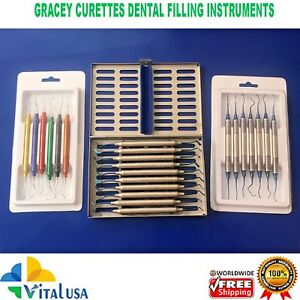 Gracey Curettes Root Cavity Tooth Calculus Removal Filling Instruments Kit