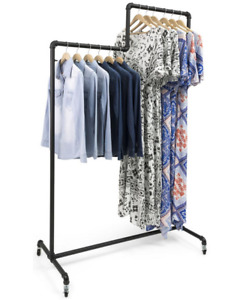 2 Tiered Industrial Pipe Mobile Hanging Clothing Display Rack