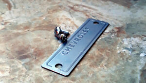 1953 1963 Chevrolet Data Id Tag Vin Number Plate With 2 Holes And 2 Screws