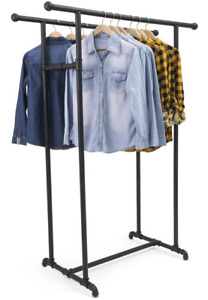 Dual Rail Industrial Pipe Retail Store Hanging Clothing Display Rack