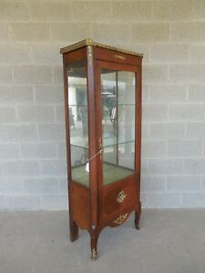Vintage French Louis Xv Style Lighted Curio Cabinet 24 W X 65 H