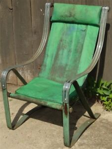 1930s Art Deco Machine Age Mckay Chrome Springer Sling Chair As Is