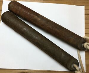Vintage Lot Of 2 Antique Cast Iron Window Sash Weights 4 Lb Steam Punk 11 Long