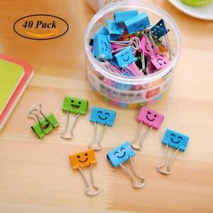 Coideal 40 Pack Colored Paper Clips With Cute Lovely Smiling Face File