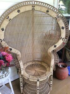Vintage Bohemian Style Rattan Peacock Chair Rare Great Condition Large