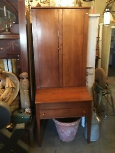 Antique Hand Hewn Shaker Style Tall Secretary Desk Bookcase Square Nailed Pegged