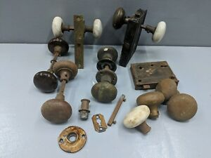 Lot Of Vintage Antique Porcelain Door Knobs Sargent Other Locks Hardware