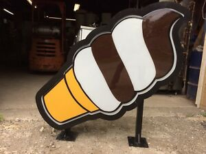 Giant Lighted Outdoor Ice Cream Cone Sign