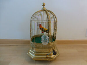 Antique Large French Bontems Singing Bird Cage Music Box Automaton 6 Cams Rare