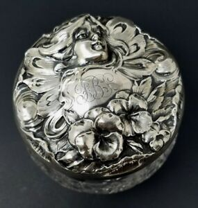 Sterling Silver Powder Jar Art Nouveau Vanity Dresser Antique Victorian Woodside