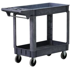 Rolling Utility Service Cart Heavy Duty Plastic Buggy Serving Rolling Wheels