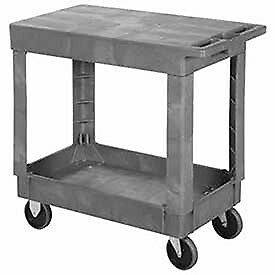 Plastic Flat Top Shelf Rolling Service Cart 34x17 5 Rubber Casters Lot Of 1