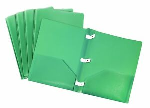 Storex Thicker Poly Two pocket Folder With Plastic Prongs Green Case Of 18