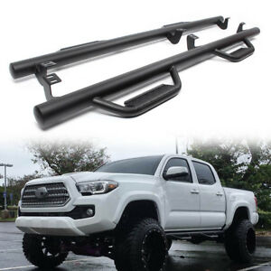 Hoop Style Drop Step Nerf Bars For 2005 2018 Toyota Tacoma Double Cab