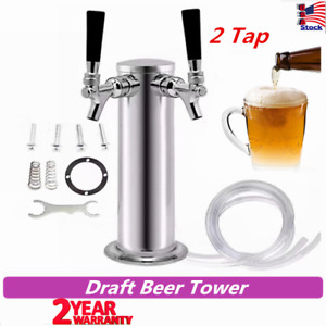 Double Stainless Steel Draft Beer Tower Kegerator Dual Chrome 2 Tap Faucets