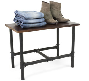 Pipeline Wooden Dark Brown Stain Nesting Clothing Display Table