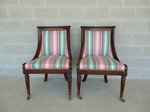 Hickory Chair Regency Style Mahogany Frame Accent Chairs Pair