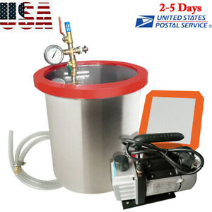 5 Gallon Vacuum Chamber 3cfm Pump silicone Pad 5 Foot Hose air Filter Kit Us