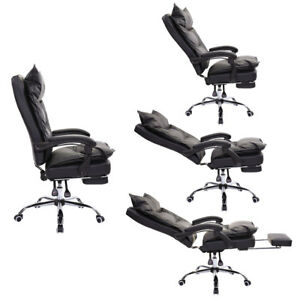 Layered Pu Swivel Casters Executive High Back Reclining Office Chair