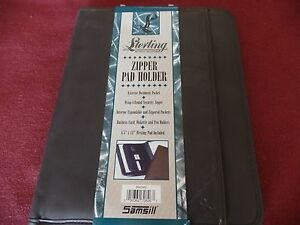 Samsill Sterling Zipper Pad Holder Binder Portfolio Brown