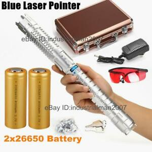 Blue Laser Pointer Laser Pen Burning Laser Torch 2x26650 Battery Included 970sv