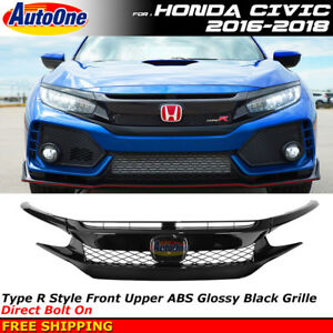 For 2016 2018 Honda Civic Coupe Sedan Type r Style Front Grille Painted Black