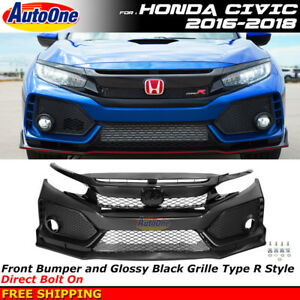 For 2016 2018 Honda Civic Coupe Sedan Type r Style Front Bumper W Black Grille
