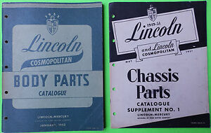 1952 Lincoln Mercury Cosmopolitan Oem Body Parts Book 49 51 Chassis Sup Parts