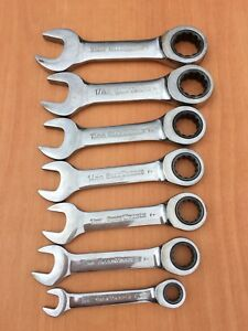 Gearwrench Tool Stubby Short Ratcheting Wrench Metric 7pc Set Ratcheting