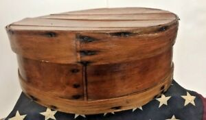 Vintage Primitive Round Bentwood Shaker Pantry Cheese Box Wood Slatted Nails 15