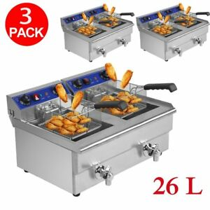 3 X Electric Countertop Deep Fryer 3 3kw Dual Tank 26l Commercial Restaurant Bt