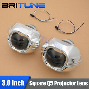 3 Inches Square D2s Hid Bi xenon Projector Lens Headlight W Shrouds For H4 Cars