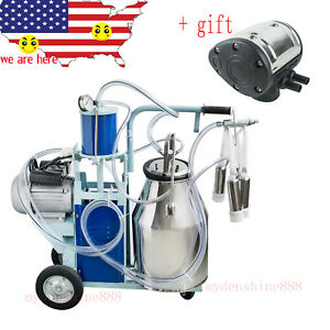 25l Electric Dairy Milking Machine Milker For Cows Cattle Bucket Free Pulsator