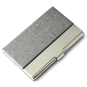 Partstock Unisex Business Name Card Holder 304 Stainless Steel Pu Leather