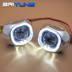 Square Cob Led Angel Eyes Drl With 30 Hid Bixenon Projector Lens Headlight Lamp
