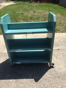 Vintage Library Book Cart Industrial Rolling Church Library Cart