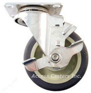 5dlsspsb 5 X 1 1 4 Swivel Caster Stainless Steel Poly Wheel With Brake