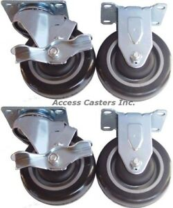 5p20pset Set Of 4 Casters 5 Polyurethane Wheels 2 Rigid 2 Swivel Brake