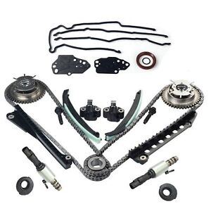 Fit Ford 5 4l Timing Chain Kit Vvti Cam Phaser Solenoid Valves Timing Cover Seal