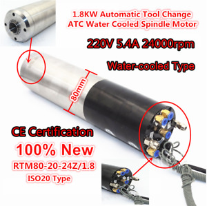 1 8kw Atc Water Cooled Automatic Tool Change Spindle Motor 220v 24000rpm 5 4a