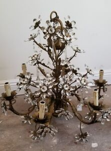 Vintage Chandelier Glass Crystal Flowers Incredible 6 Light 2004 Exceptional